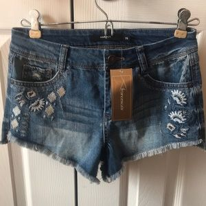 Francesca's Harper mid rise denim frayed shorts